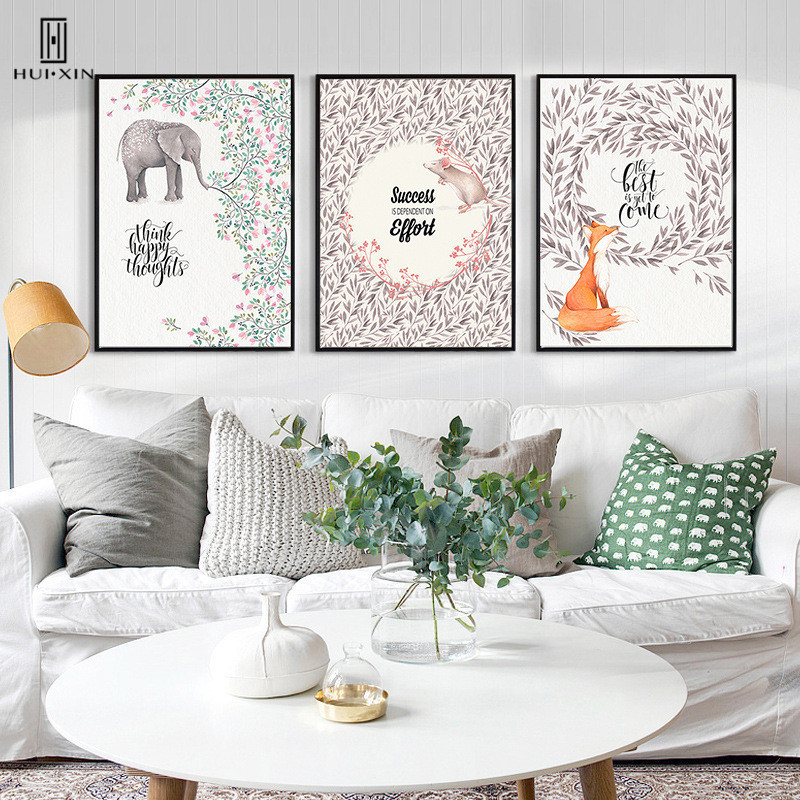 Cute Cartoon Graceful Flowers Lively and Pretty Elephant Fox Mouse Canvas Print Wall Decorative Paintings for Kids Room Decor