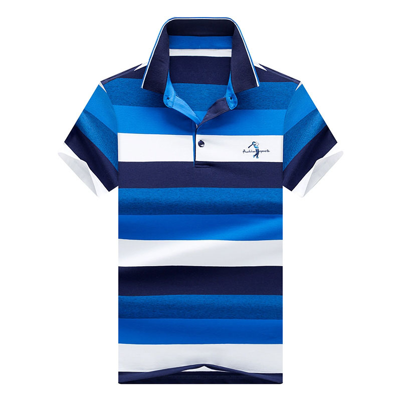 Summer Men's   Polo   Shirts Short Sleeve Designer Male Striped Pure Cotton Business Casual   Polos   Men Top Tees 3XL AF8550