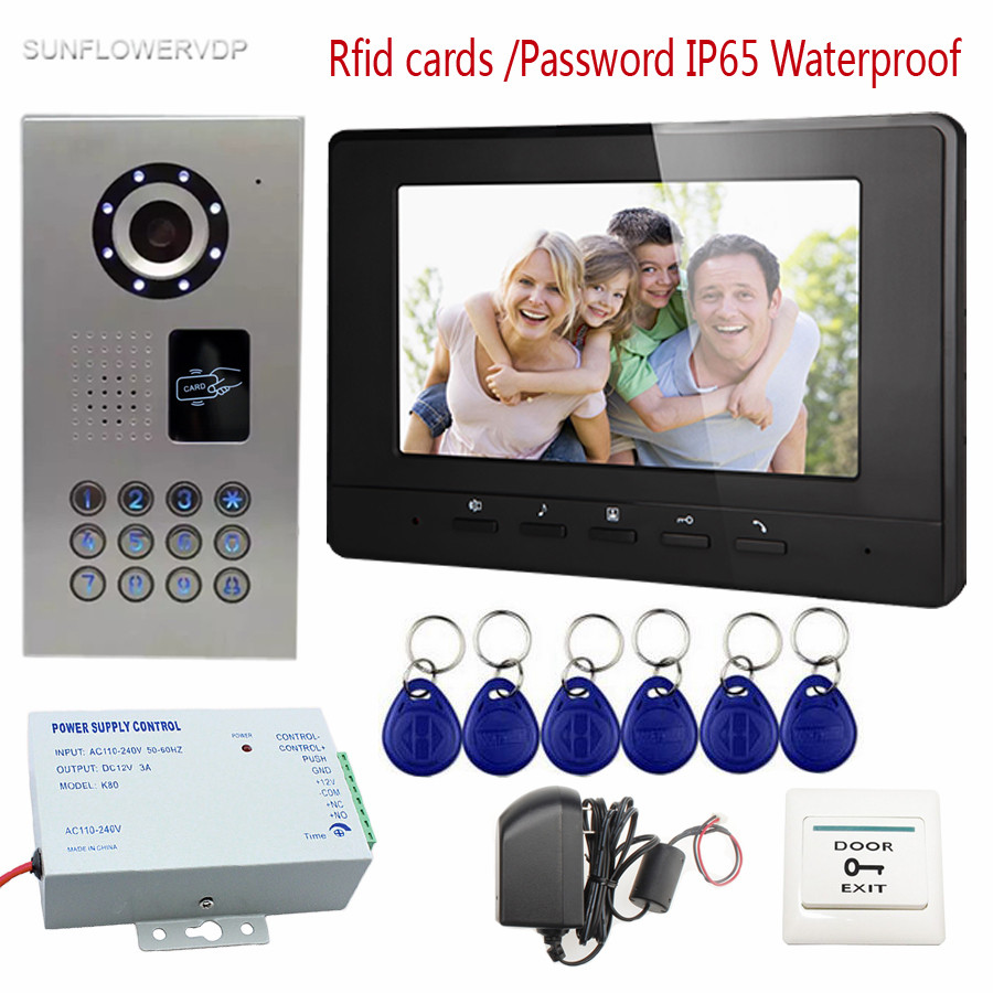 SUNFLOWERVDP Rfid Keychains Video Intercom For Private House IP65 Waterproof Doorbell Camera 7 Monitor Color LCD Home Phone xeltek private seat tqfp64 ta050 b006 burning test