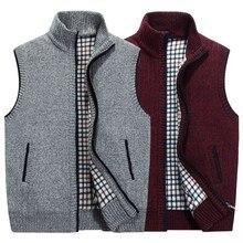 Autumn Winter Thick Knit Vests Men's Loose Thiced Fleece Vest Waistcoat Plus Size XXXL Mens Outerwear Men sleeveless Coats Tops