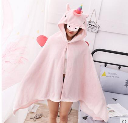 Unicorn Cartoon Hooded Blanket 1