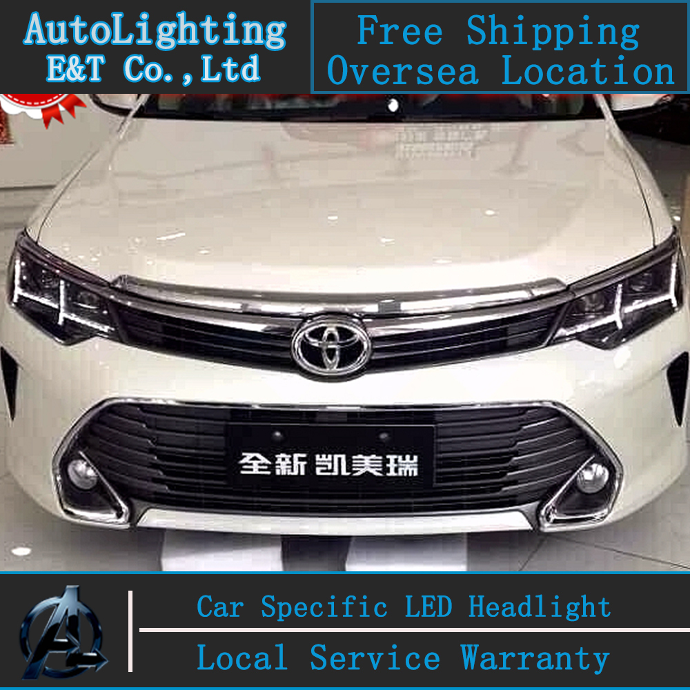 Car Styling New For Toyota Camry headlights 2014-2015 New Camry led headlight head lamp led drl H7 hid Bi-Xenon Lens low beam car styling headlights for toyota rav4 led headlight 2013 2015 for rav4 head lamp led daytime running light q5 lens bi xenon hid