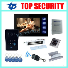 Free shipping 7″ TFT touch color screen RFID and password video door phone with power supply+EM lock+ZL bracket+exit button