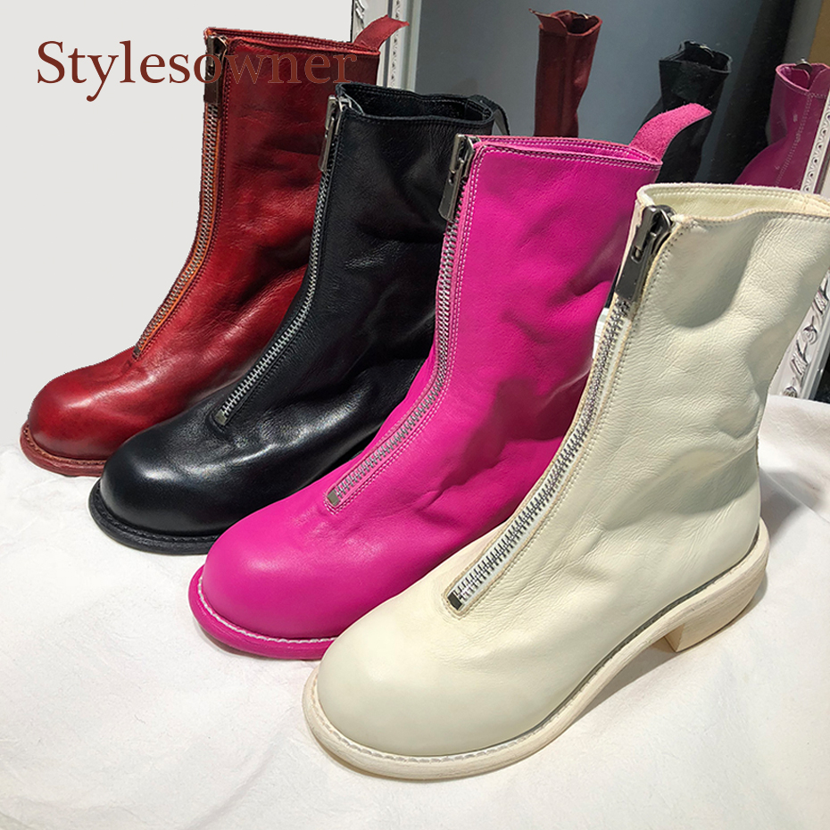 Stylesowner high quality handmade women martin boots front zippers brand genuine leather waxed ankle boots round toe med heels handmade quality custom sexy charm contracted style leather side zippers rivet women s knight boots