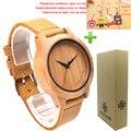 Amante da moda Relógio Caso De Bambu Natural De Madeira de Quartzo-Relógio Barato Relógio Casal Relógio Pulseira De Couro Genuíno Strap Relógio de Pulso mulheres relógios