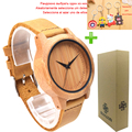 Fashion Lover's Wooden Watch Natural Bamboo Case Quartz-Watch Cheap Clock Couple Watch Genuine Leather Band Strap Wristwatch