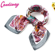 Office Lady Gift Bandana Scarf Women Small Square Silk Scarf 2017 NeckerChief 60 cm
