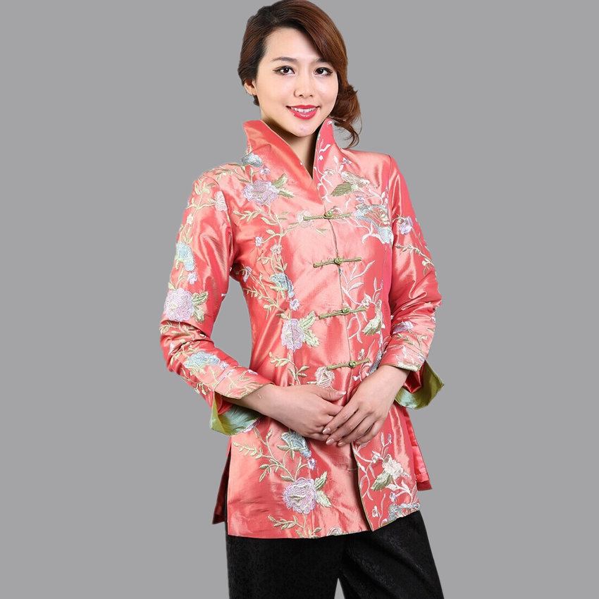 Hot Sale High Fashion Pink Lady Satin Coat Chinese Traditional Handmade Button Clothing Embroidery Jacket Size M--XXXL PF020