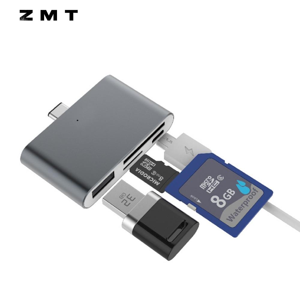Mini 4 in 1 Card Reader USB 3.1 Type C to USB 2.0 HUB OTG 2 Slot TF Micro SD Card USB3.1 Type-C USB2.0 for Apple MacBook XIAOMI
