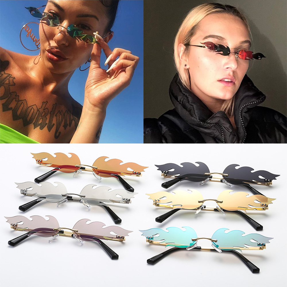 Narrow Sunglasses Wave Sun Glasses Rimless Fashion Sunglasses Fire Flame
