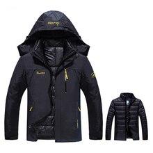 Plus Size 6XL Winter Jackets Men's Parkas Hooded Coats Waterproof Windbreakers Two Jackets In One Thick Warm Parkas Outwear