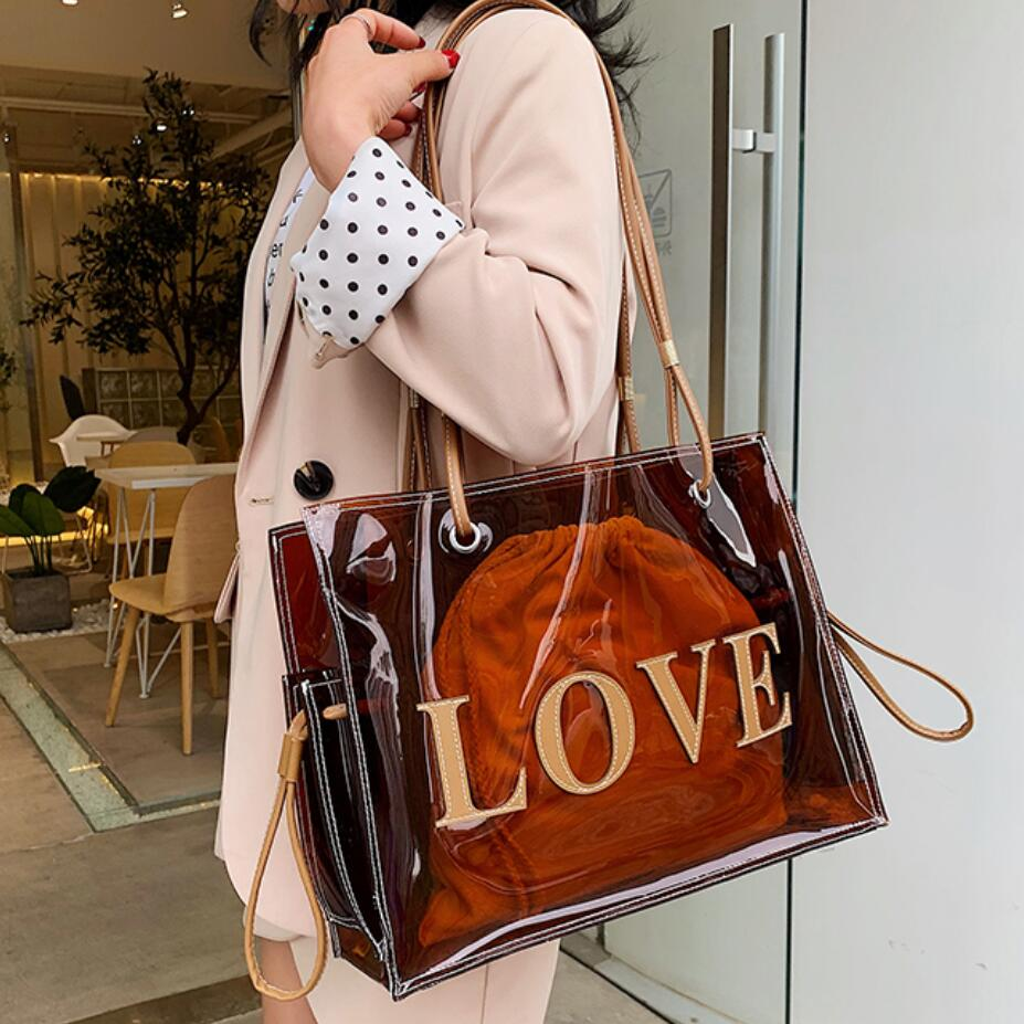 Transparent Jelly Bag Large Tote Bag 2019 Summer New Quality PVC Women's Designer Handbag Large-capacity Shoulder Bag Beach Bag