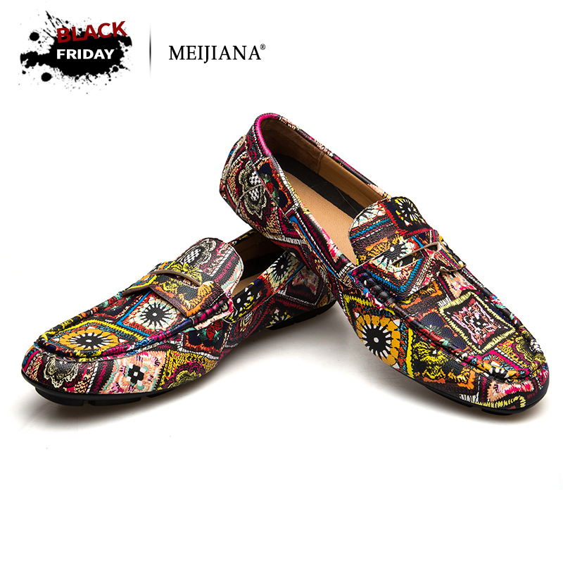 MEIJIANA Brand Leather Men Flats 2018 New Men Casual Shoes High Quality Loafers Driving Shoes Colorful Fashion Boat Shoes brand 2018 new comfortable casual shoes loafers men shoes high quality driving shoes fashion trends spring and autumn bh a0054