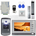 DIYSECUR Magnetic Lock 7 inch TFT Color Video Door Phone Visual Intercom Doorbell ID Unlocking RFID LED Night Vision Camera
