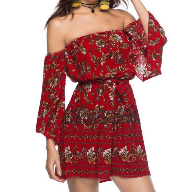 Women Floral Printing Off Shoulder Sleeve Rompers Jumpsuit Playsuit rompers  for toddler girl teens infant hippie ee10bd351