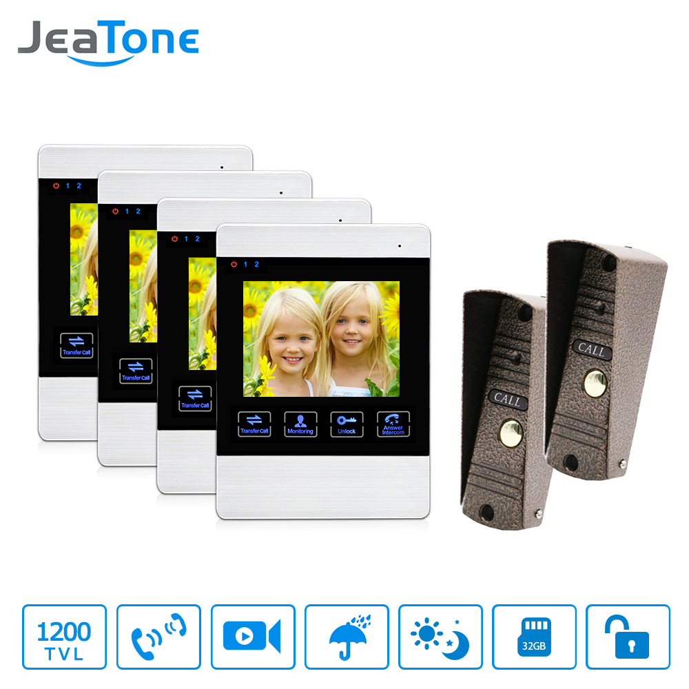 4 Inch 4 Wired Door Phone Video Intercom Doorbell Home Security Camera System Waterproof Motion Detection On Door Panel 2 To 4