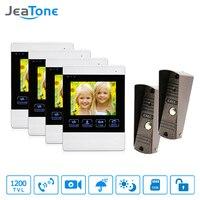 4 Inch 4 Wired Door Phone Video Intercom Doorbell Home Security Camera System Waterproof Motion Detection