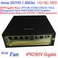 Servidor dedicado com ventilador intel atom d2550 dual-core 1.86 ghz 4*82583 v Gigabit LAN Wake on LAN Watchdog apoio 1G RAM 8G SSD