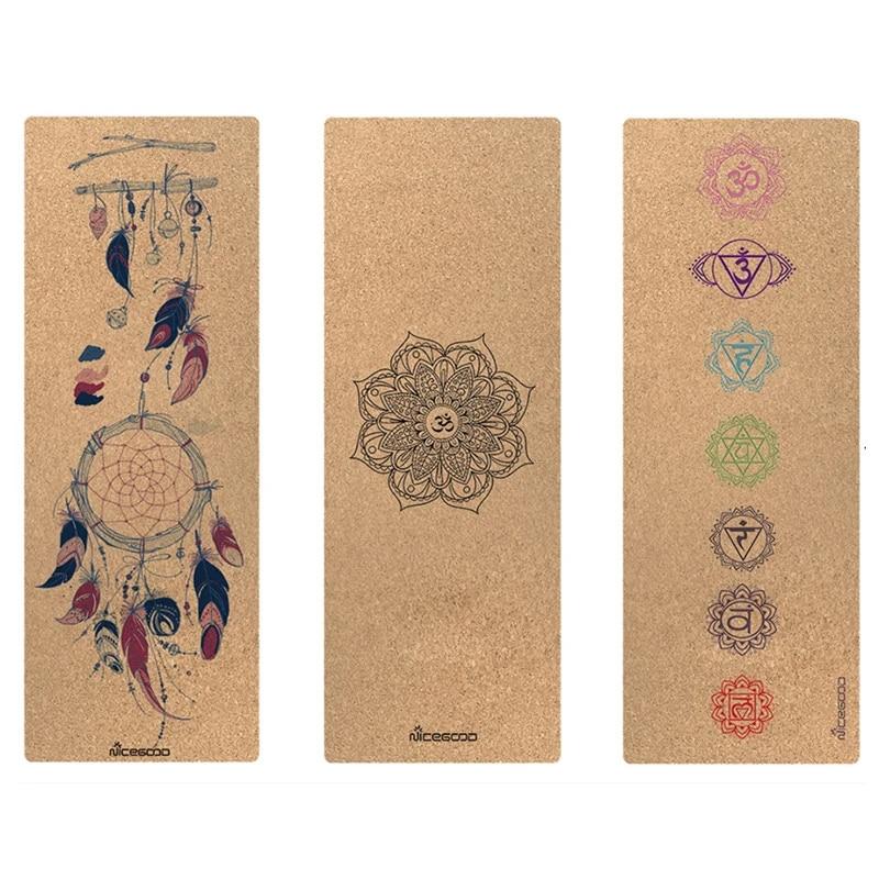 tapis de yoga ecologique en liege caoutchouc naturel antiderapant matelas de yoga exercice pour pilates 183cm 61cm 3mm