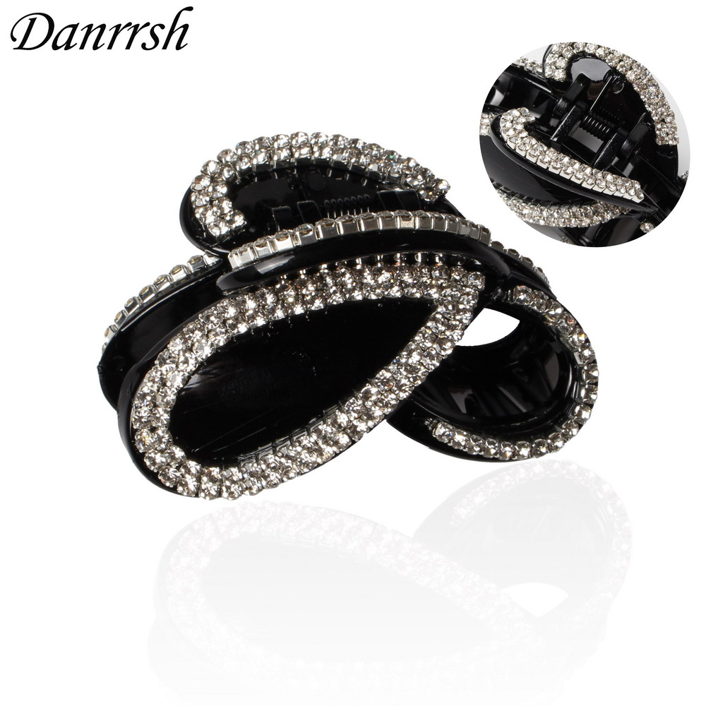 New Style Black Full Pave Rhinestone Hair Clips Plastic Large Hair Claw Hot Sale Top Quality Hair Jewelry For Women