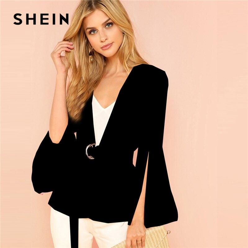 4638e82dda SHEIN Black Office Lady Elegant Split Sleeve Belted Solid Fashion Blazer  2018 Autumn Highstreet Women Coat Outerwear-in Blazers from Women's Clothing  on ...