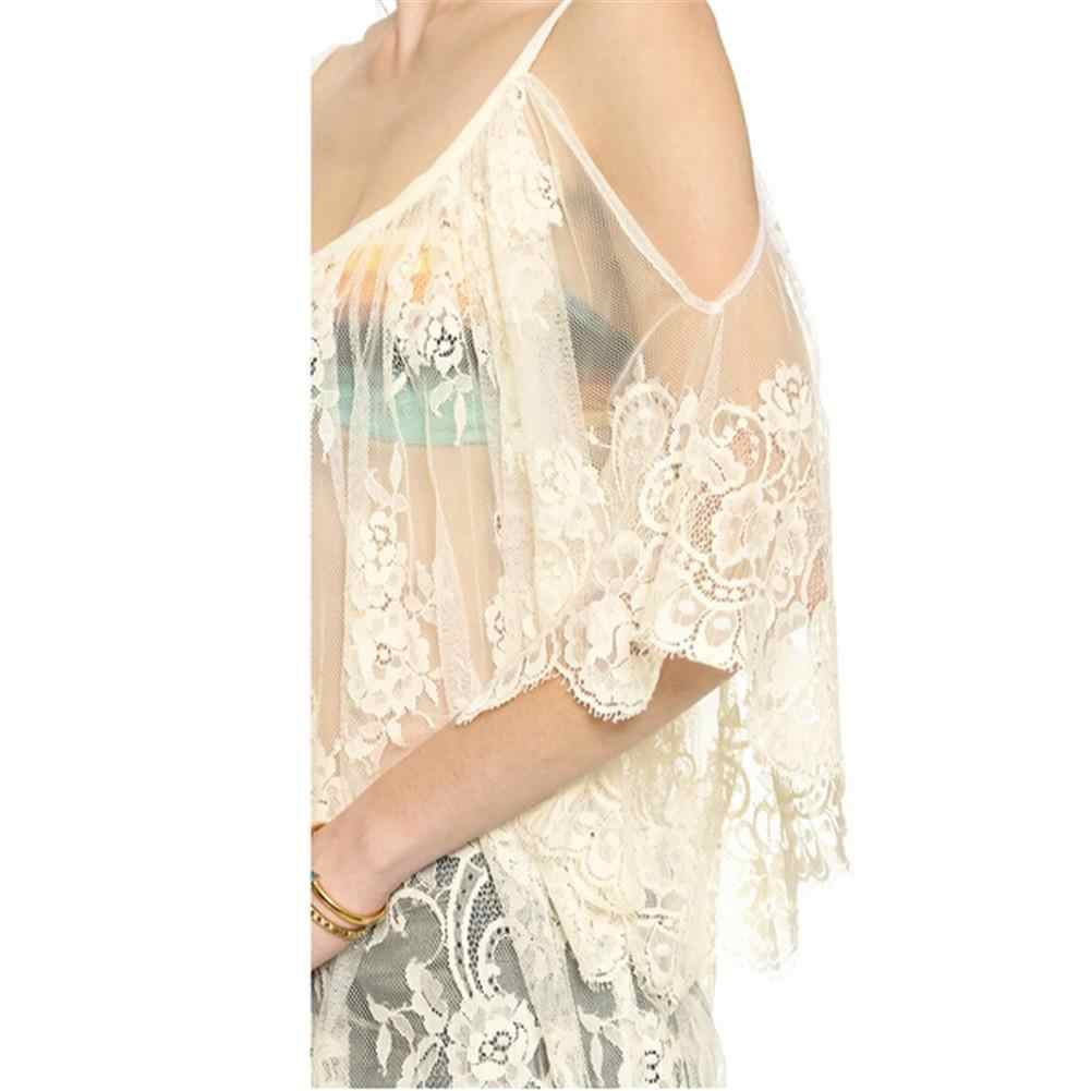 928af0fd81196 ... 2018 Embroidered Sheer Swimsuit Cover Up See-through Lace Cover Up  Women De Plage Beach ...