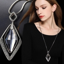 1pcs /lots New Long Necklaces for Women  Collier Femme Geometric Statement Colar Maxi Fashion Crystal DIYJewelry