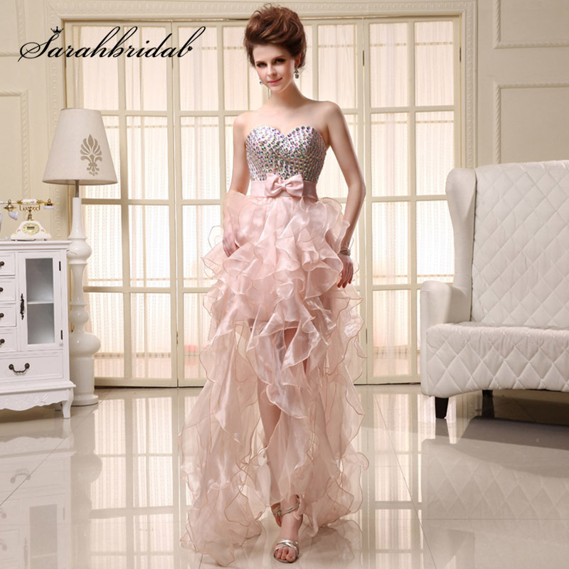 Charming Organza Ruffles   Cocktail     Dresses   High low Sweetheart Sequined Short Front Long Back Evening Formal Gowns SD068
