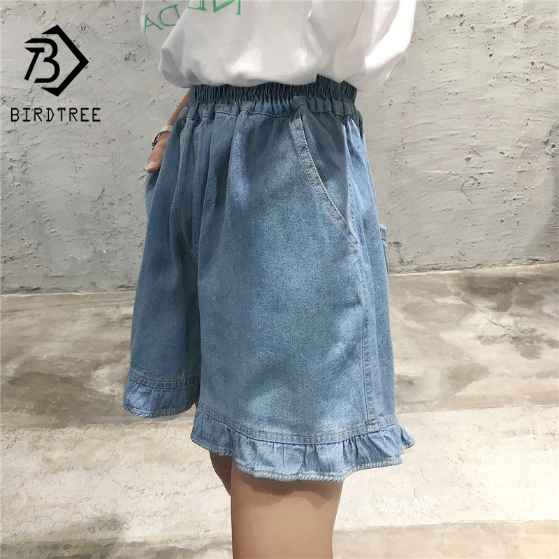 Plus Size 5XL 2019 Summer  Women's Shorts  Jeans High Waist With Pockets Straight Leg Blue Jeans Elastic Waist Trousers B85102X