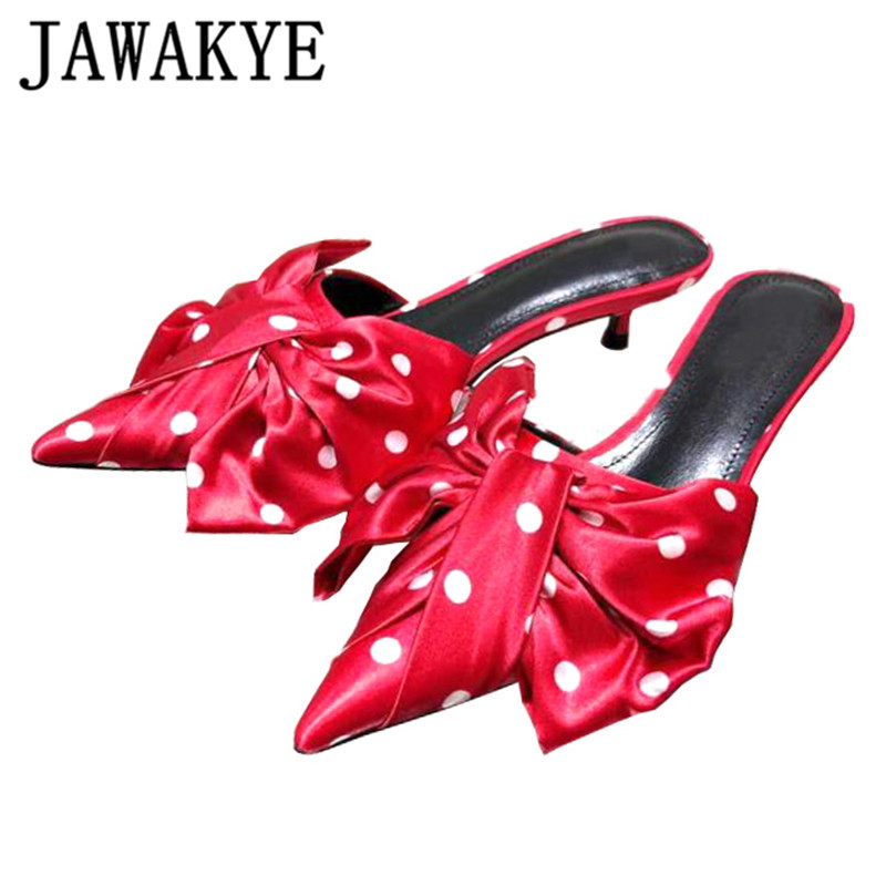 Summer butterfly knot Slippers Women Pointed Toe Genuine Leather kitten heel sandals Sexy wave point Lazy