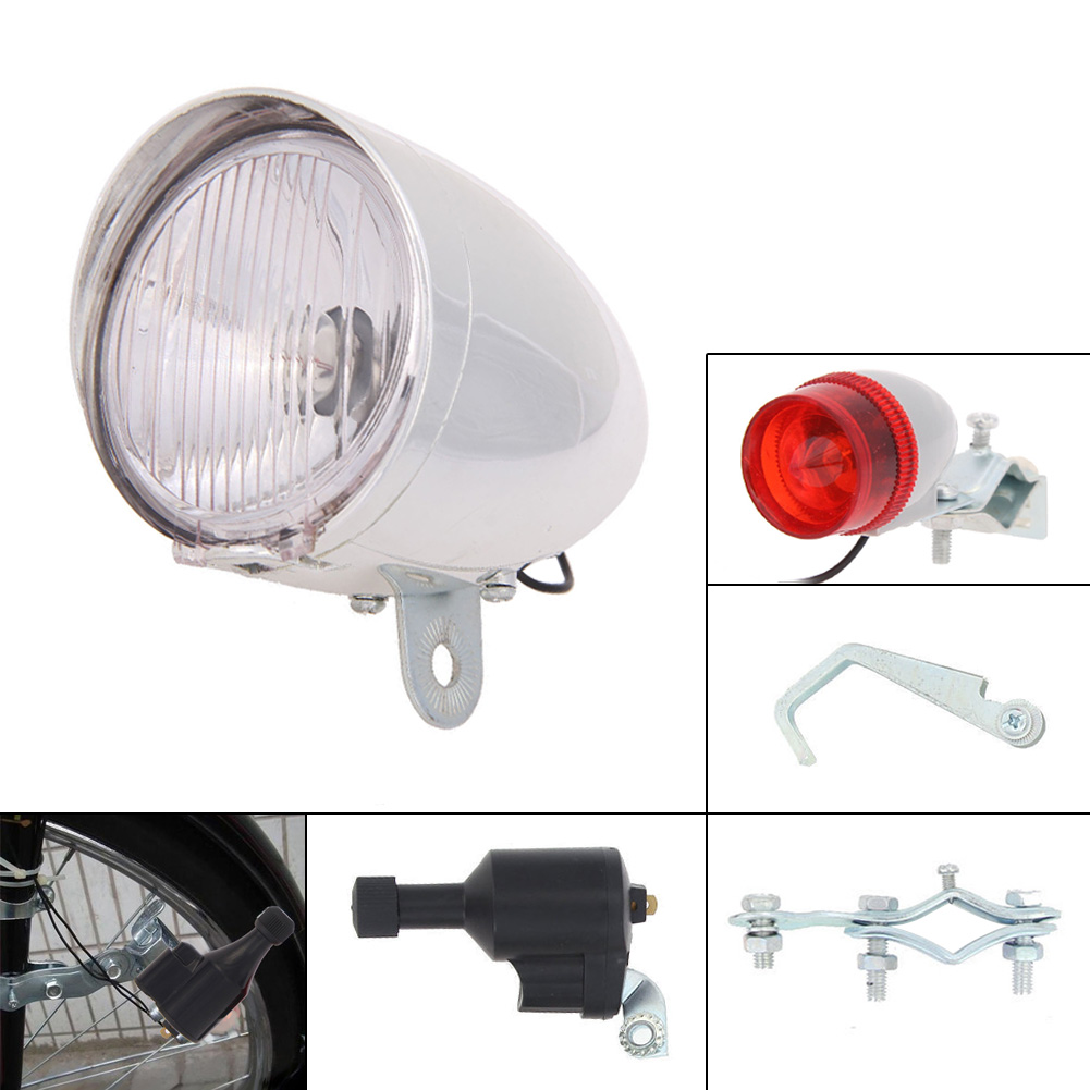 6V 3W Bicycle Dynamo Lights Set Safety No Batteries Needed Headlight Rearlight LED Bicycle Lights