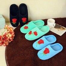 XA Роза тапочки 2018 мода цветы вышивка тапочки теплая обувь тапочки из хлопка на плюшевой подкладке без застежки Для женщин без каблука Indoor