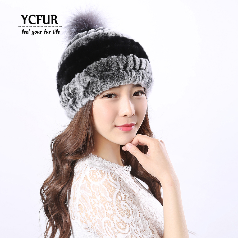 YCFUR Fashion Women's Winter Caps Hats Soft Warm Knit Genuine Rex Rabbit Fur Hats With Silver Fox Fur Pompom Hat Beanie Female