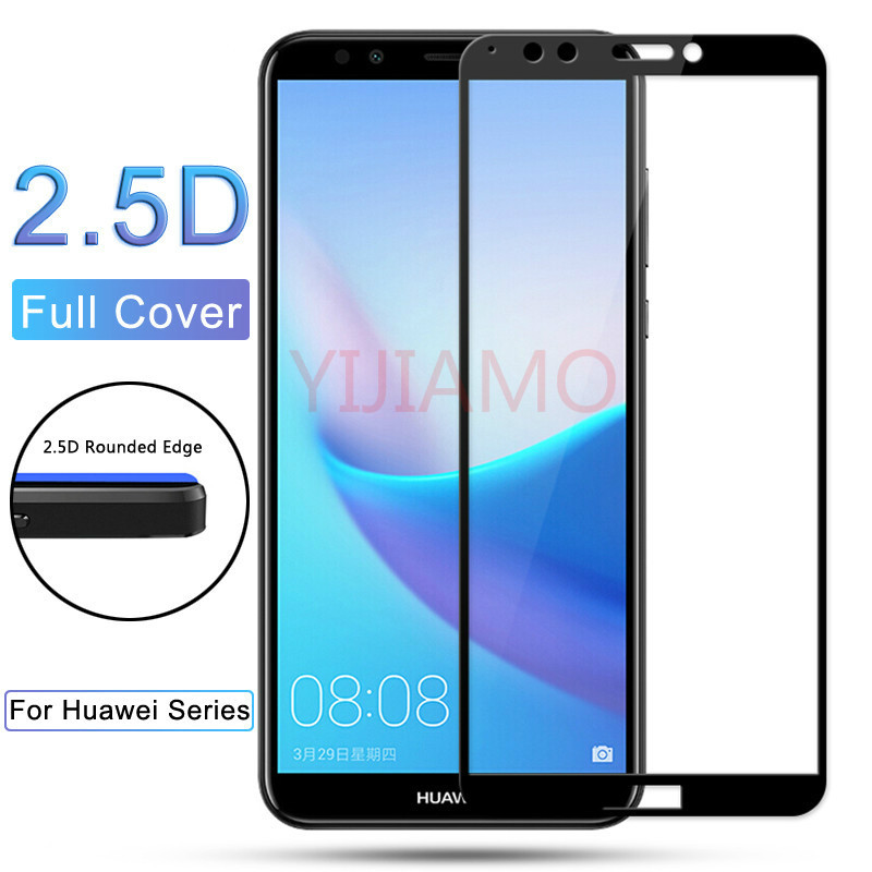 y6 y7 y5 prime 2018 Screen Protector Tempered Glass For Huawei Y3 Y5 Y6 Y7 Y9 Y5 Y6 Y7 Prime Pro Colorful 3d Full Cover Film 9h in Phone Screen Protectors from Cellphones Telecommunications