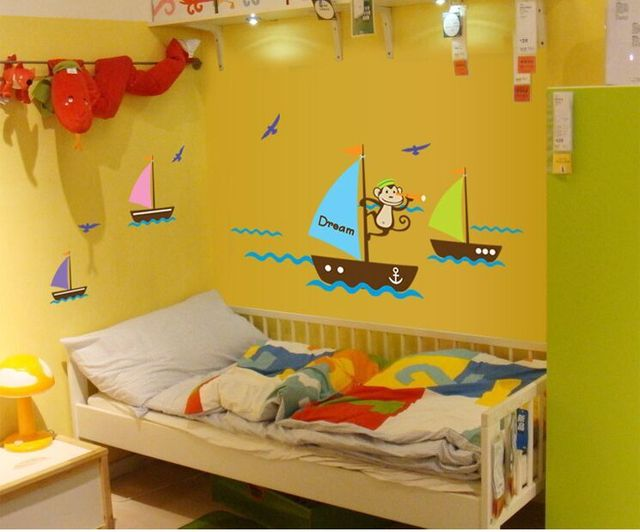 1Set Fashion Ocean Sail Boat Ship Monkey Wall Stickers Art Kids Room ...
