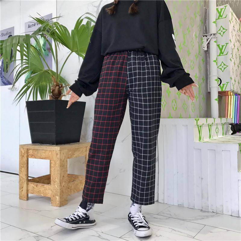 Neploe Vintage Plaid Patchwork Pants Harajuku Woman Man Trousers Elastics High Waist Pants Korean Causal Straight Checkerboard 25