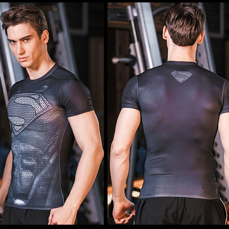 Superman 3D printed Men T-Shirts Superhero series Gym fitness Crossfit Training Exercise Tight elastic tees t shirt Large size