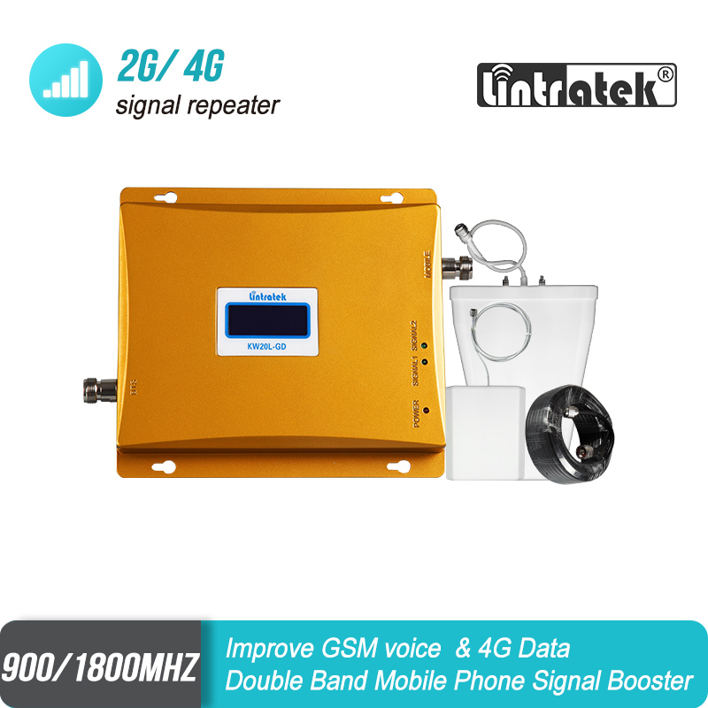 Lintratek Dual Band GSM 900 LTE 1800mhz Mobile Phone Signal Repeater 65dB Gain 2G 4G 900 1800 Cellular Booster Amplifier Set #6