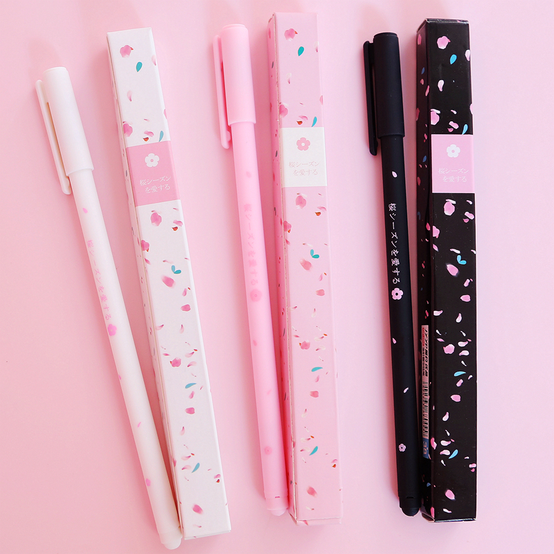 Romantic Sakura Gel Pen Rollerball Pen School Office Supply Student Stationery Signing Pen Black Ink 0.38mm