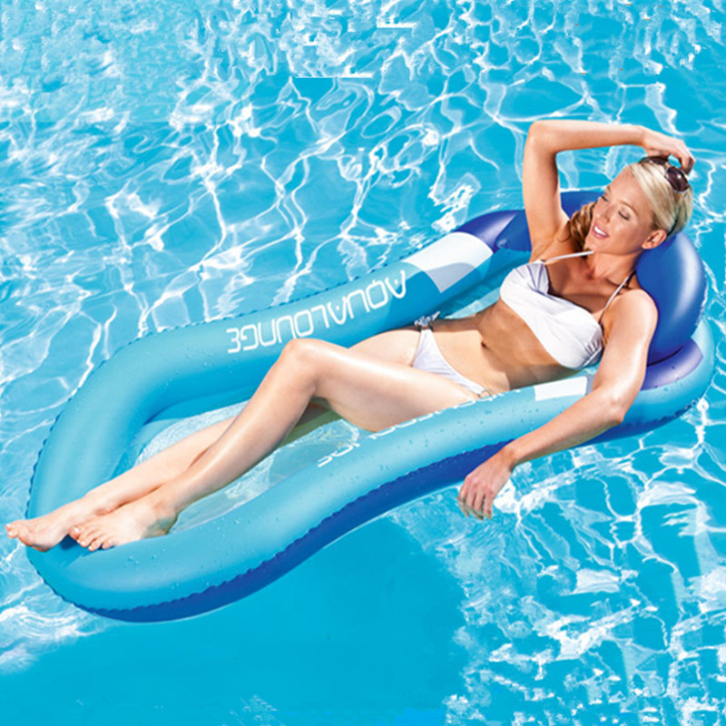 Swimming Pool & Accessories Summer Swimming Water Floating Bed Water Hammock Single People Inflatable Backrest Recliner Floating Sleeping Bed Chair Cushion