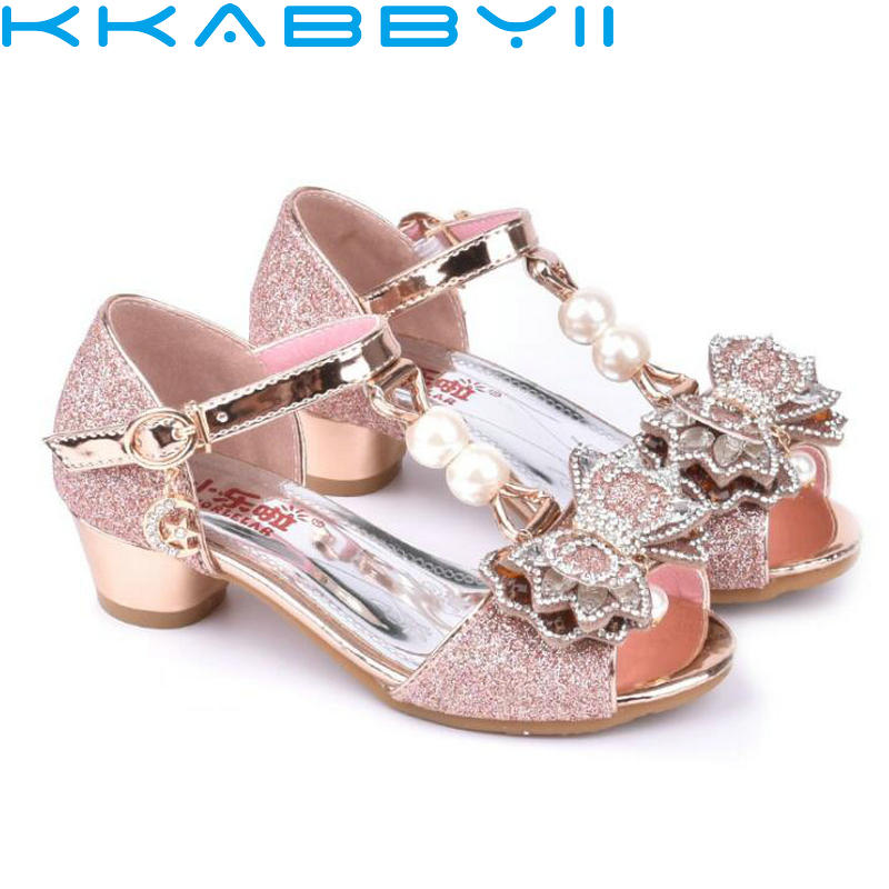 Pink Sandals For Girl Summer High Heels Gilr Children Gold Sivler Sandals Princess Cute Fashion Bow Student Shoes 3 Colors ...