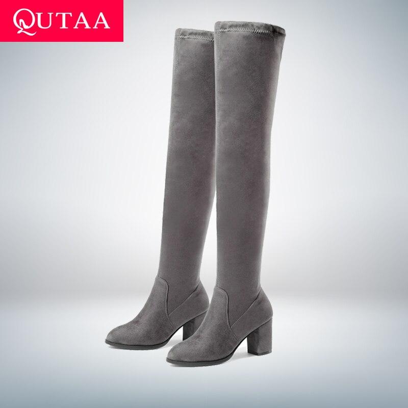 QUTAA 2020 Women Over The Knee High Boots Square High Heel Women Shoes Platform Winter All Match Sexy Women Boots Size 34-43