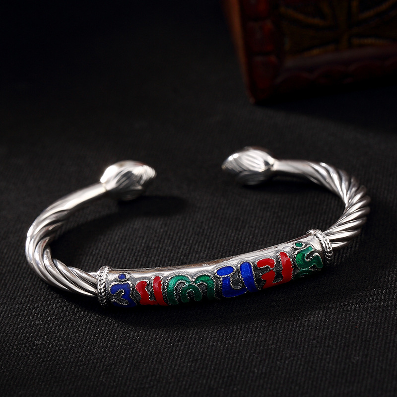 Здесь продается  Silver S990 Six Solid Words, Safe Safe, Cloisonne, Lotus Flower Openings Lady, Thai Silver Bracelet Wholesale  Ювелирные изделия и часы