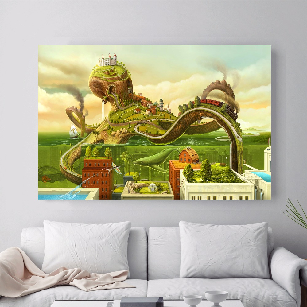 Surreal City Chess Beach Set Canvas Art Print Painting Poster Wall ...