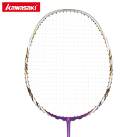 Kawasaki Junior Badminton Rackets 35 LBS High Tension S710 Graphite Fiber Badminton Racquet with String