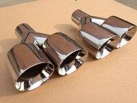 Brillante 101mm doble inlet70mm-outlet101mm 304 Acero inoxidable Punta de escape tubo de escape de la mufla de coche universal tamaño