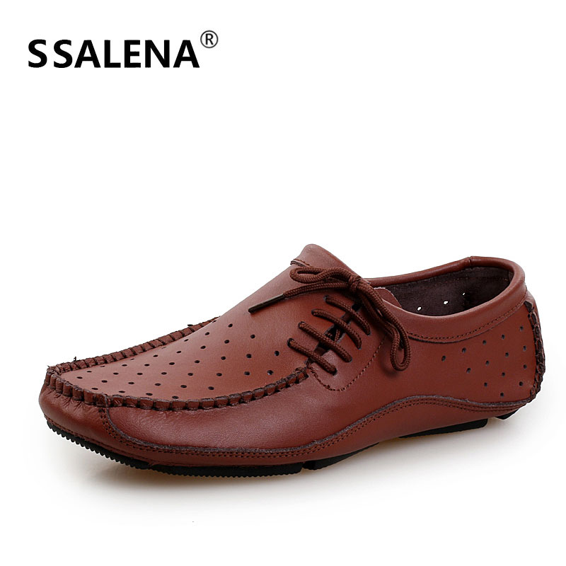 Hommes Vintage Style en cuir chaussures décontractées hommes à lacets respirant doux semelle chaussures hommes confortable trous maille chaussures AA52098