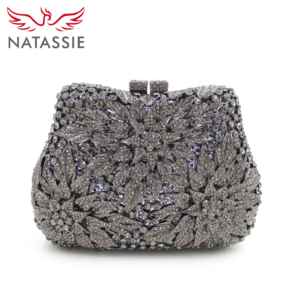 NATASSIE Fashion Crystal Clutch Bag Gemstone High Quality Lady Party Evening Handbag Women Mini Shoulder Purses With Chain milisente high quality luxury crystal evening bag women wedding purses lady party clutch handbag green blue gold white