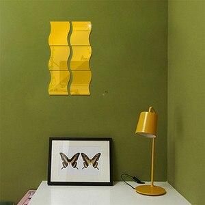 Image 2 - Nieuwe 6 PCS DIY Verwisselbare Huis Kamer Muur Spiegel Sticker Art Vinyl Mural Decor Decal Muur Sticker vinilos decorativos para paredes