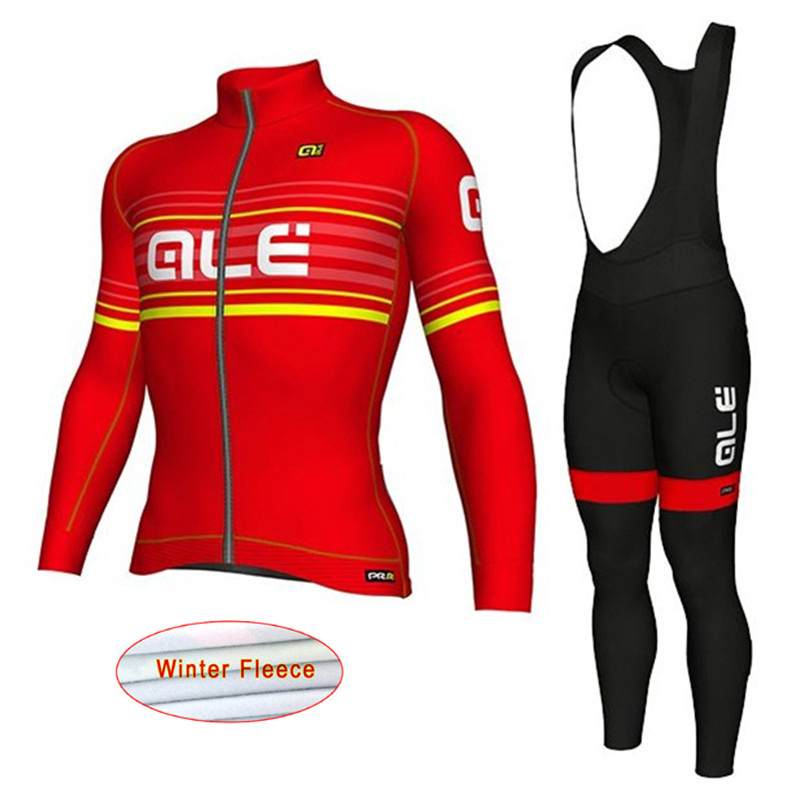 Ropa Ciclismo ALE Cycling Set Winter Thermal Fleece Long Sleeve Cycling Jersey Bicycle bib pants Keep Warm MTB Bike Clothing K17 teleyi black red ropa ciclismo maillot trouser mtb bike jersey bib pants set men cycling clothing suit riding long sleeve jacket